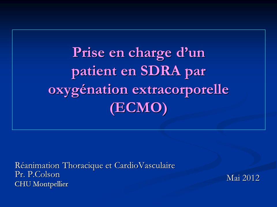 Prise en charge d'un patient en SDRA par oxygénation extracorporelle (ECMO)