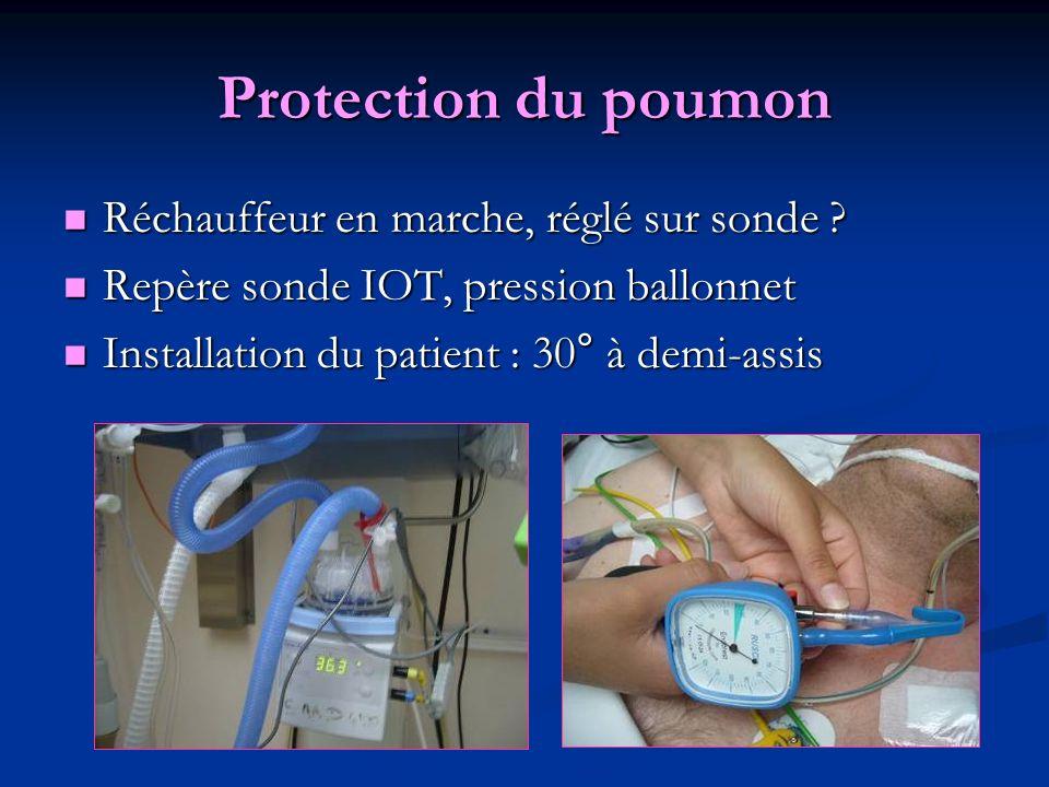 Protection du poumon Réchauffeur en marche, réglé sur sonde