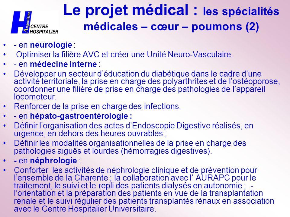 Le projet médical : les spécialités médicales – cœur – poumons (2)