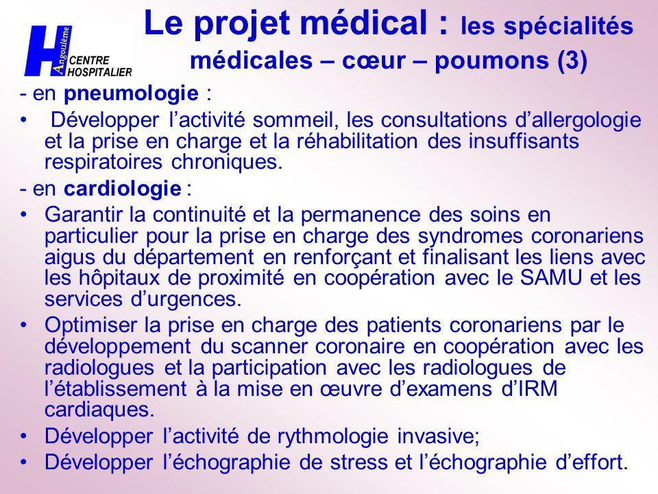 Le projet médical : les spécialités médicales – cœur – poumons (3)