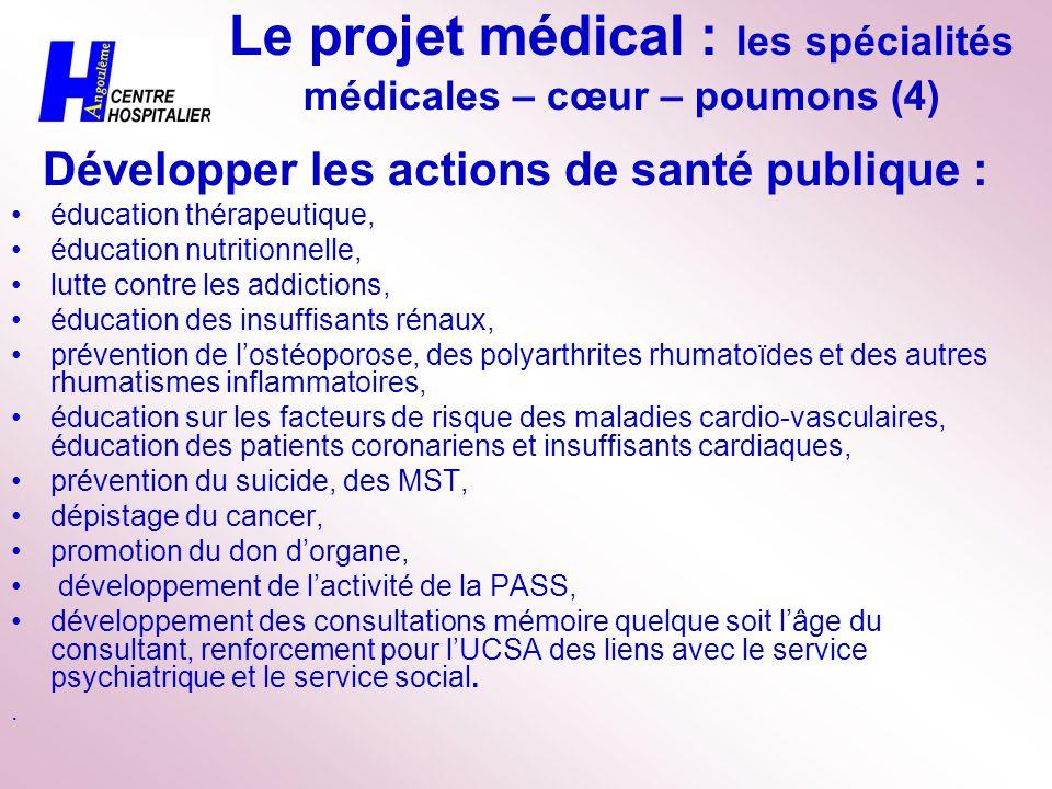 Le projet médical : les spécialités médicales – cœur – poumons (4)