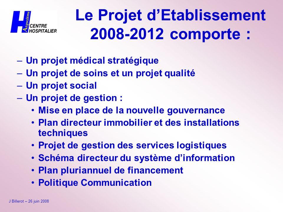 Le Projet d'Etablissement 2008-2012 comporte :