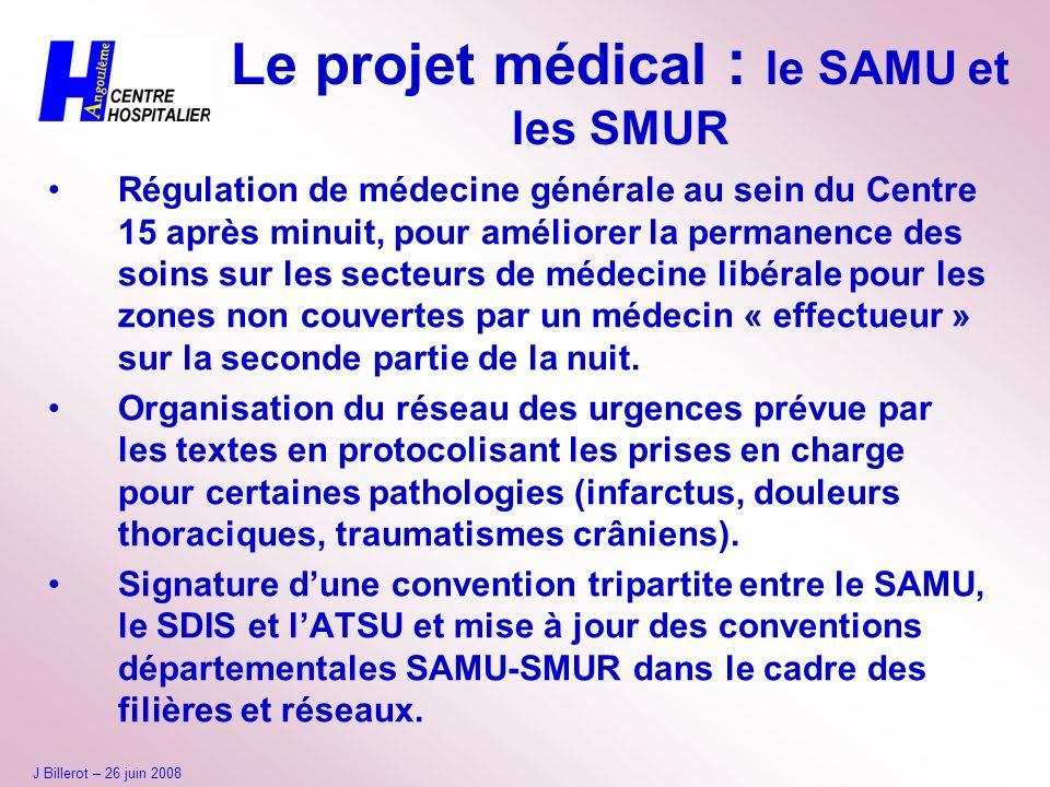Le projet médical : le SAMU et les SMUR