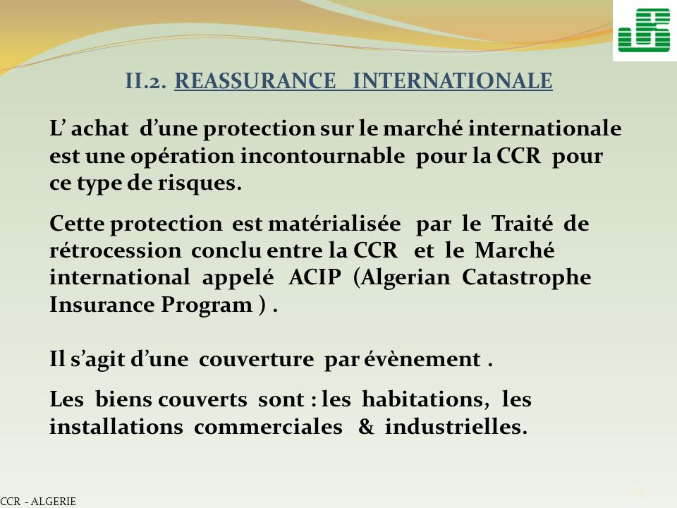II.2. REASSURANCE INTERNATIONALE