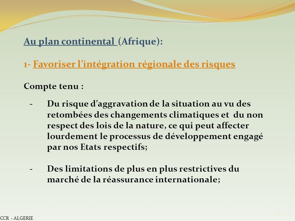 Au plan continental (Afrique):