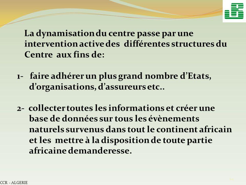 La dynamisation du centre passe par une intervention active des différentes structures du Centre aux fins de: