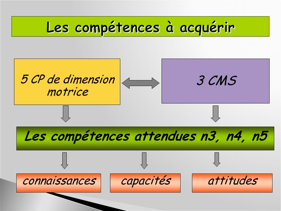 Les compétences attendues n3, n4, n5