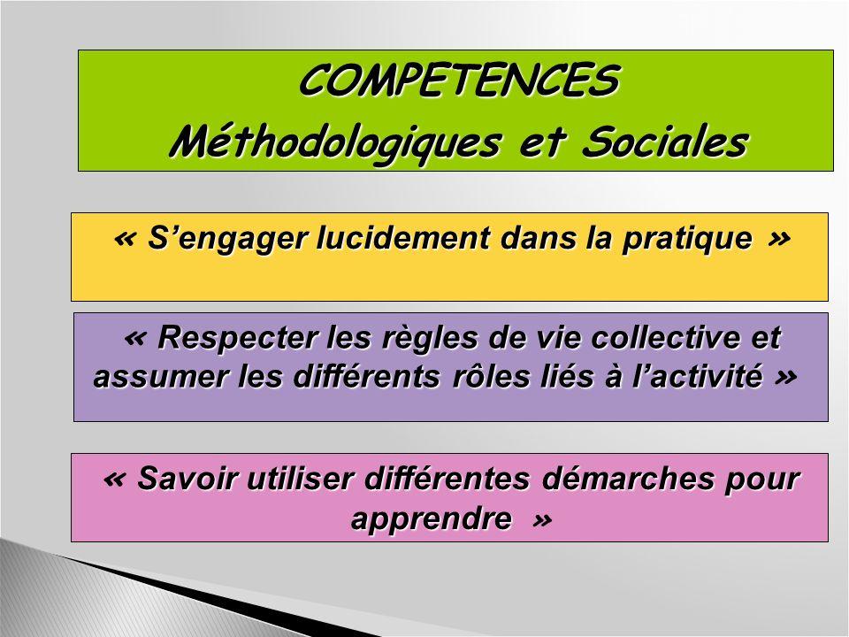 COMPETENCES Méthodologiques et Sociales