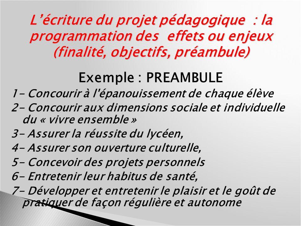 L'écriture du projet pédagogique : la programmation des effets ou enjeux (finalité, objectifs, préambule)