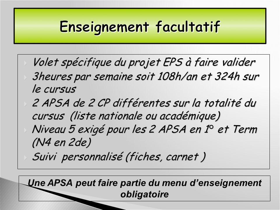Une APSA peut faire partie du menu d'enseignement obligatoire