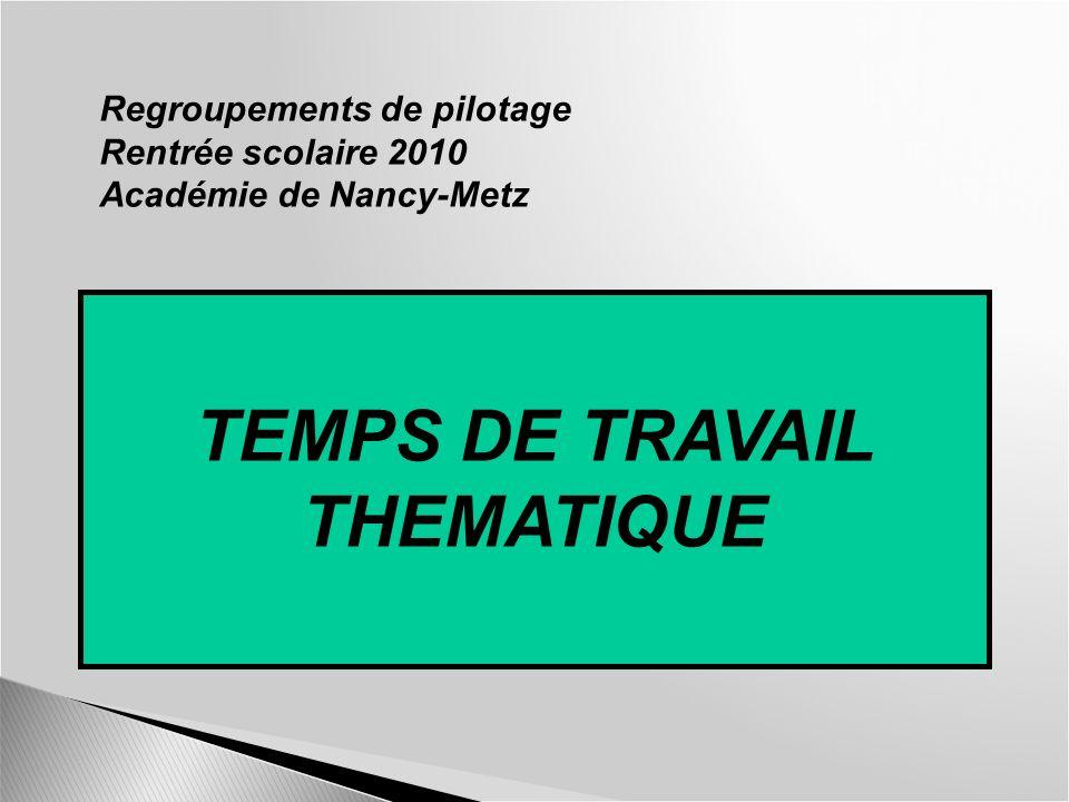 TEMPS DE TRAVAIL THEMATIQUE