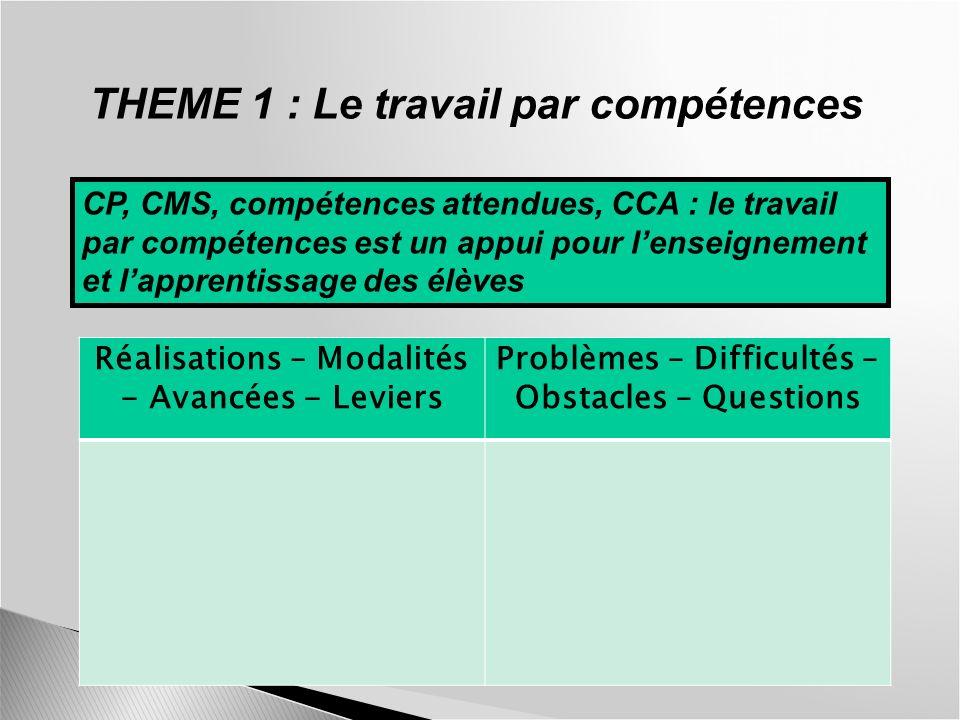 THEME 1 : Le travail par compétences