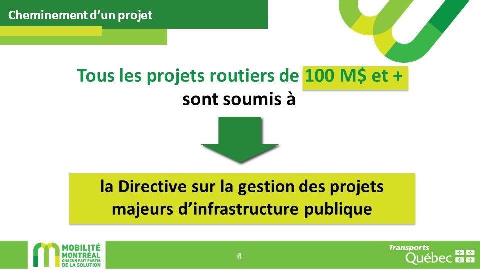 Tous les projets routiers de 100 M$ et +
