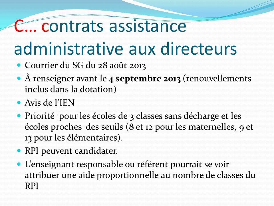 C… contrats assistance administrative aux directeurs