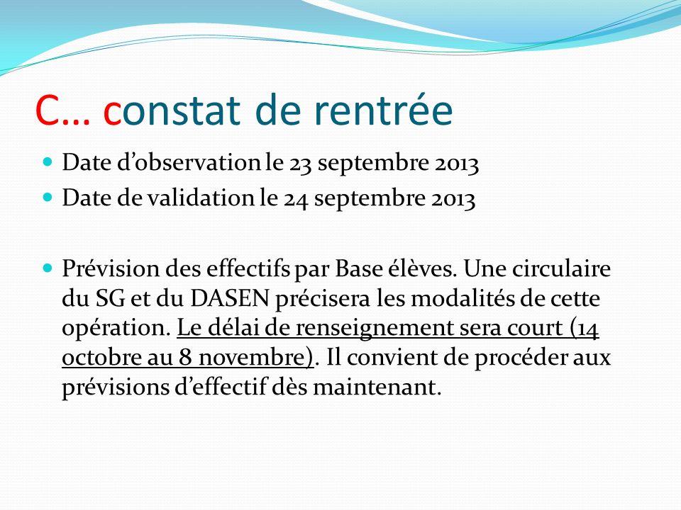 C… constat de rentrée Date d'observation le 23 septembre 2013