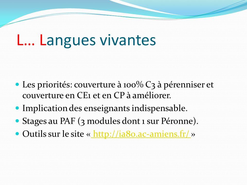 L… Langues vivantes Les priorités: couverture à 100% C3 à pérenniser et couverture en CE1 et en CP à améliorer.