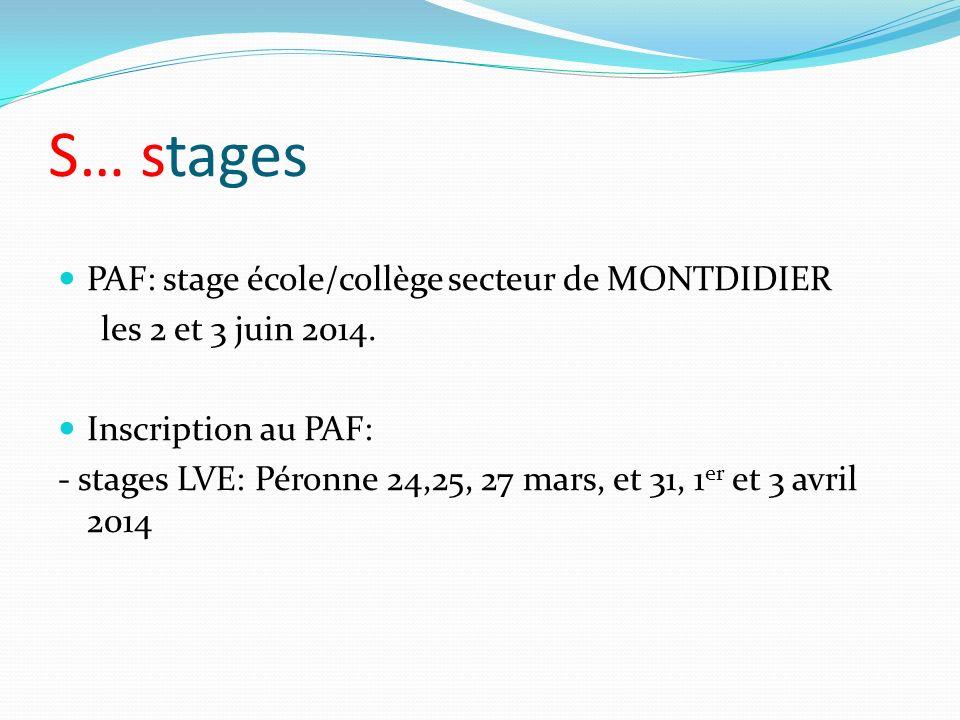 S… stages PAF: stage école/collège secteur de MONTDIDIER