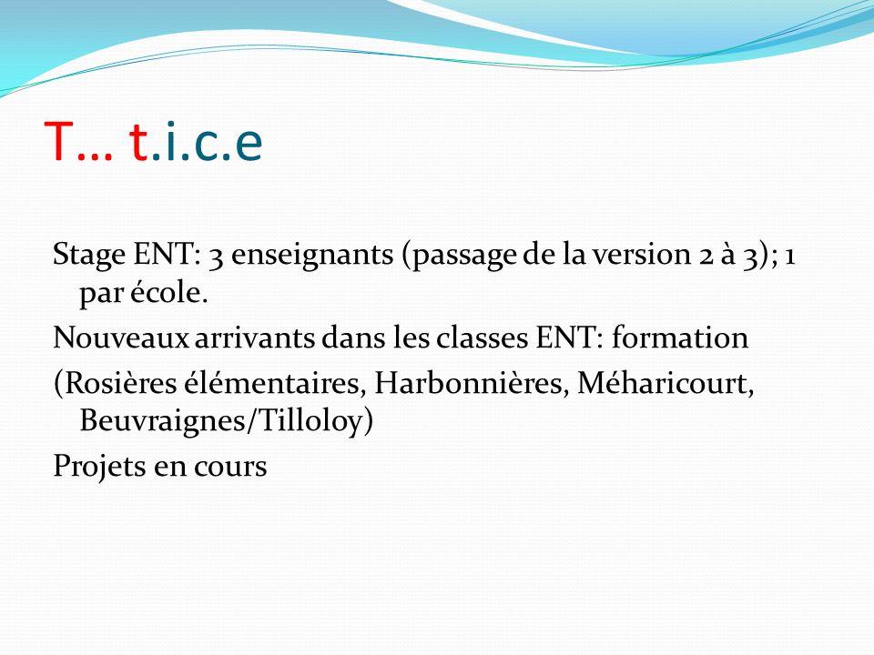T… t.i.c.e Stage ENT: 3 enseignants (passage de la version 2 à 3); 1 par école. Nouveaux arrivants dans les classes ENT: formation.