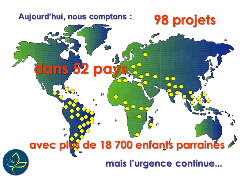 dans 52 pays 98 projets avec plus de 18 700 enfants parrainés