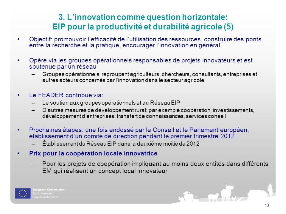 3. L'innovation comme question horizontale: EIP pour la productivité et durabilité agricole (5)
