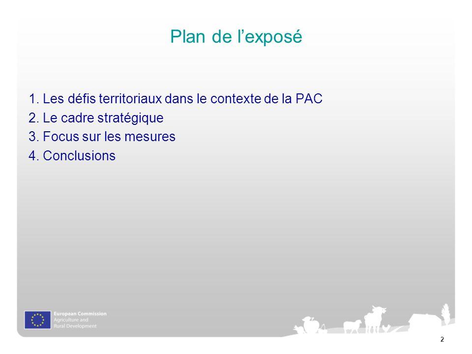 Plan de l'exposé 1. Les défis territoriaux dans le contexte de la PAC