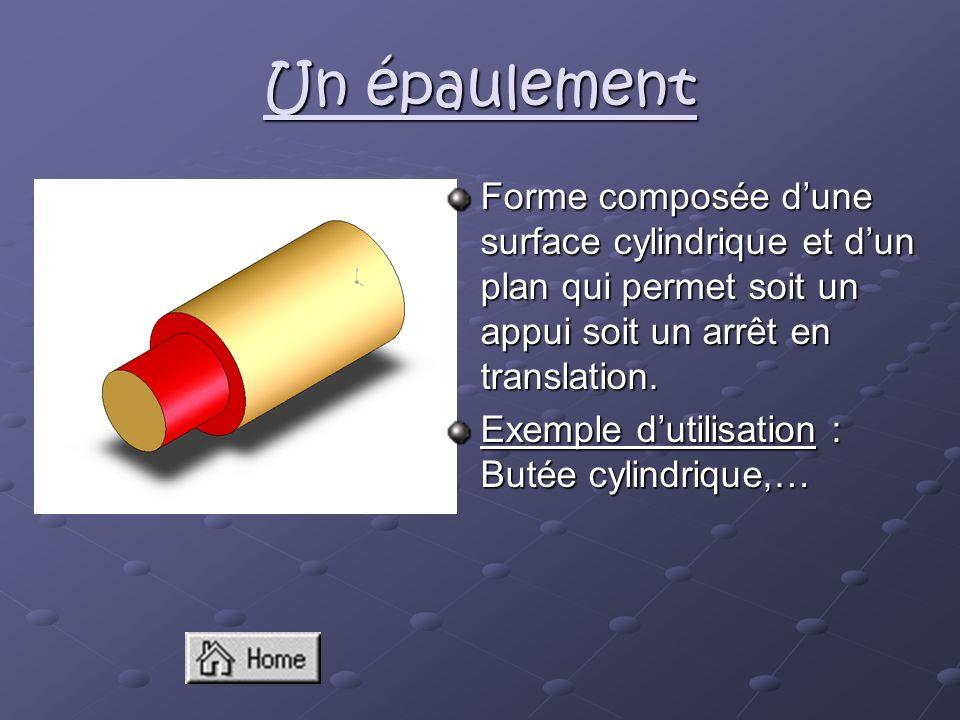 Un épaulement Forme composée d'une surface cylindrique et d'un plan qui permet soit un appui soit un arrêt en translation.