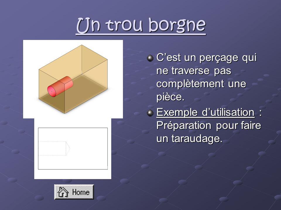 Un trou borgne C'est un perçage qui ne traverse pas complètement une pièce.