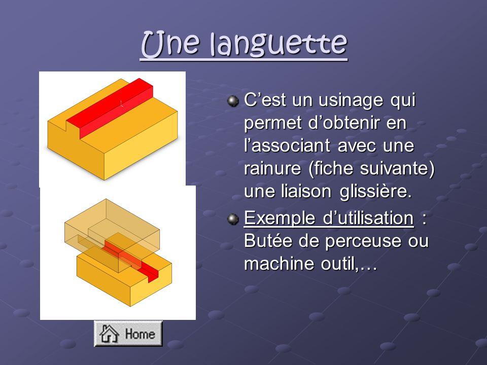 Une languette C'est un usinage qui permet d'obtenir en l'associant avec une rainure (fiche suivante) une liaison glissière.