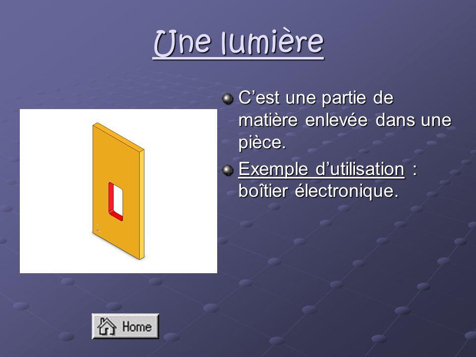 Une lumière C'est une partie de matière enlevée dans une pièce.