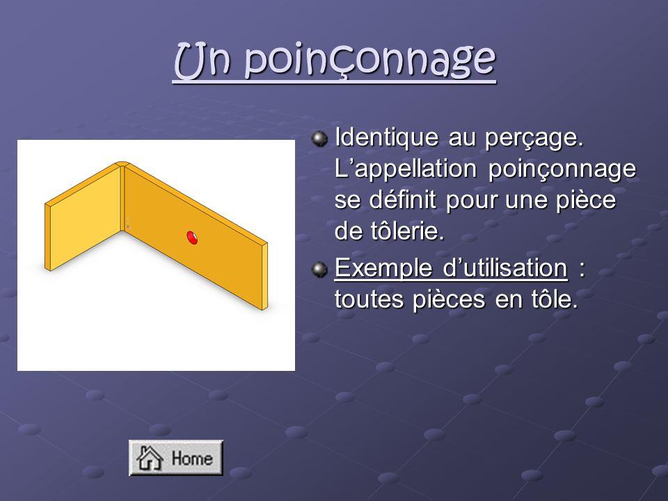Un poinçonnage Identique au perçage. L'appellation poinçonnage se définit pour une pièce de tôlerie.