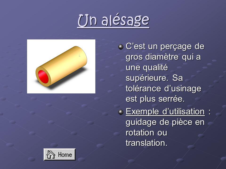 Un alésage C'est un perçage de gros diamètre qui a une qualité supérieure. Sa tolérance d'usinage est plus serrée.