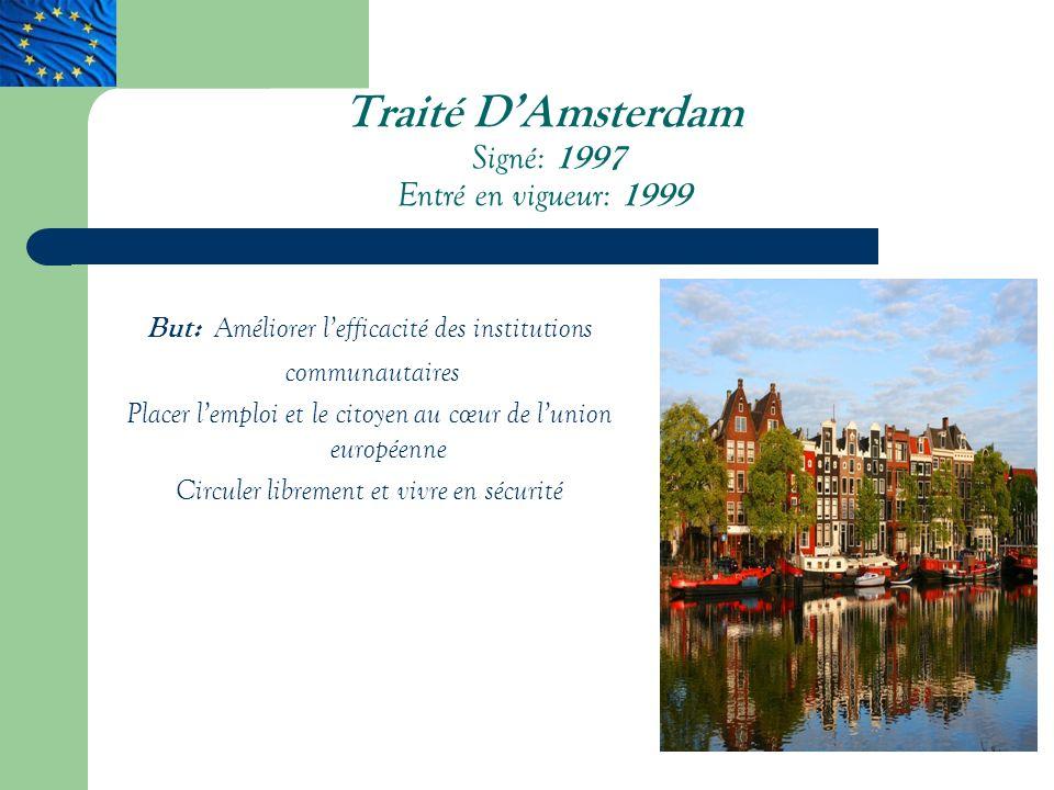Traité D'Amsterdam Signé: 1997 Entré en vigueur: 1999