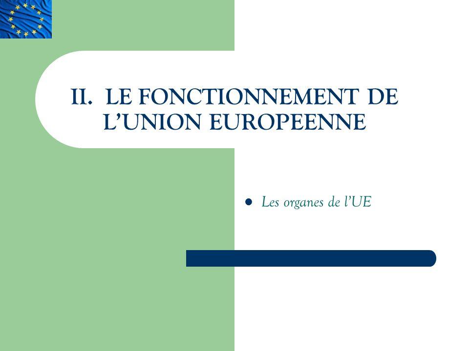 II. LE FONCTIONNEMENT DE L'UNION EUROPEENNE
