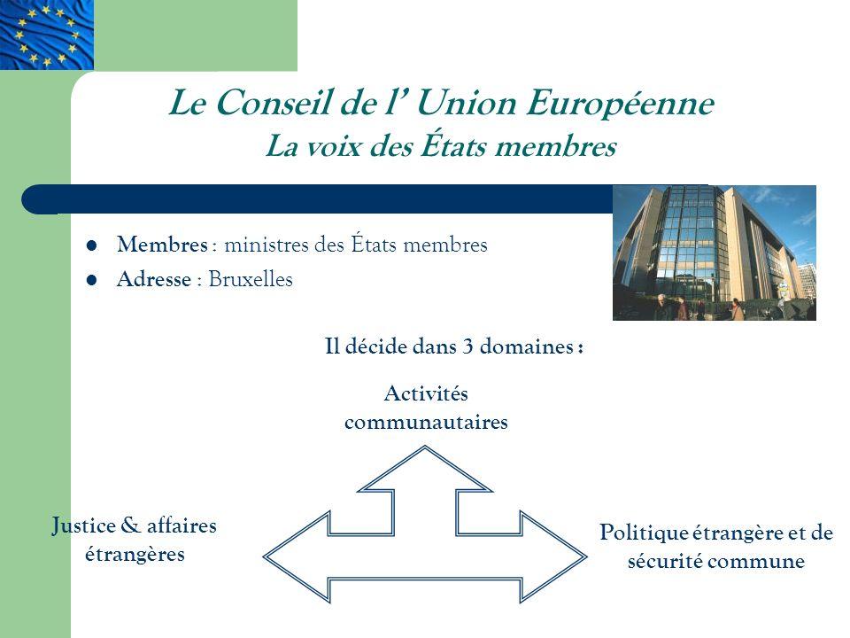 Le Conseil de l' Union Européenne La voix des États membres