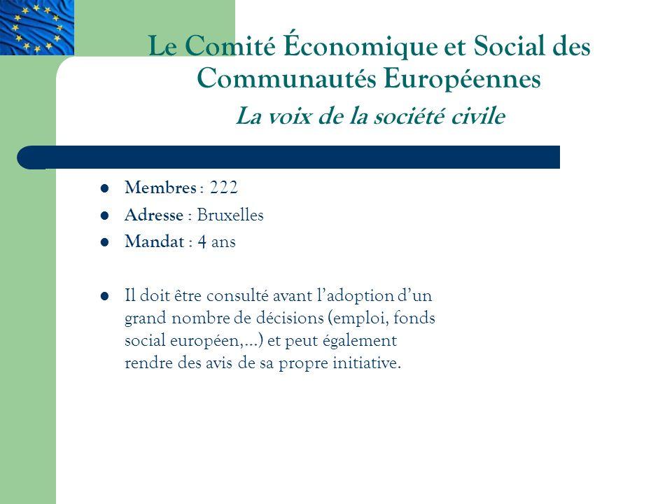 Le Comité Économique et Social des Communautés Européennes La voix de la société civile