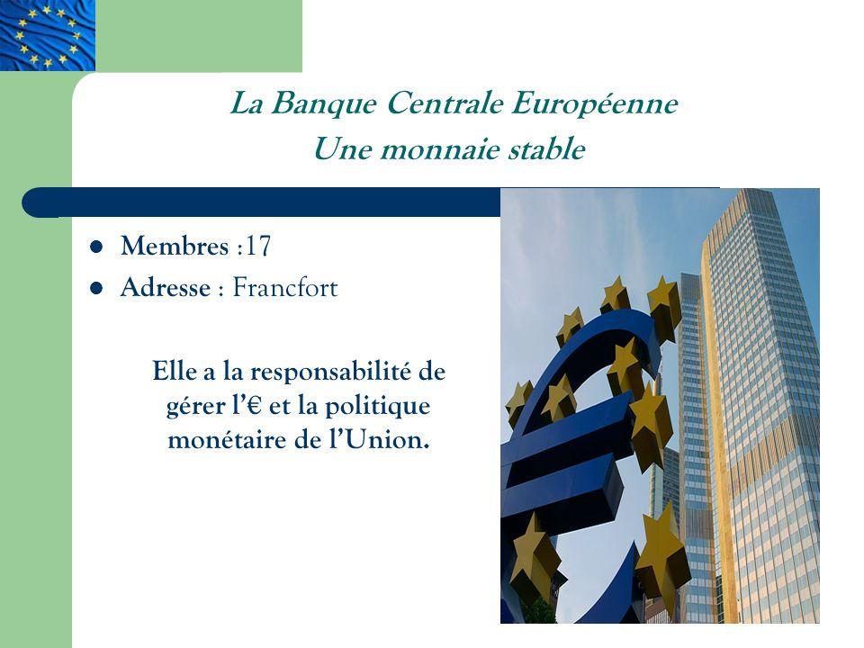 La Banque Centrale Européenne Une monnaie stable