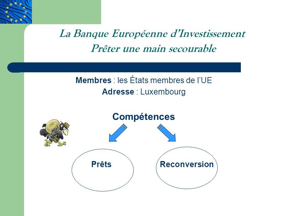 La Banque Européenne d'Investissement Prêter une main secourable