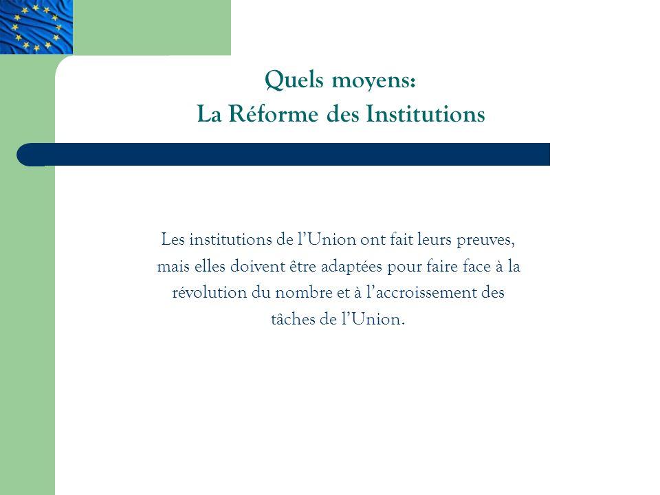 Quels moyens: La Réforme des Institutions