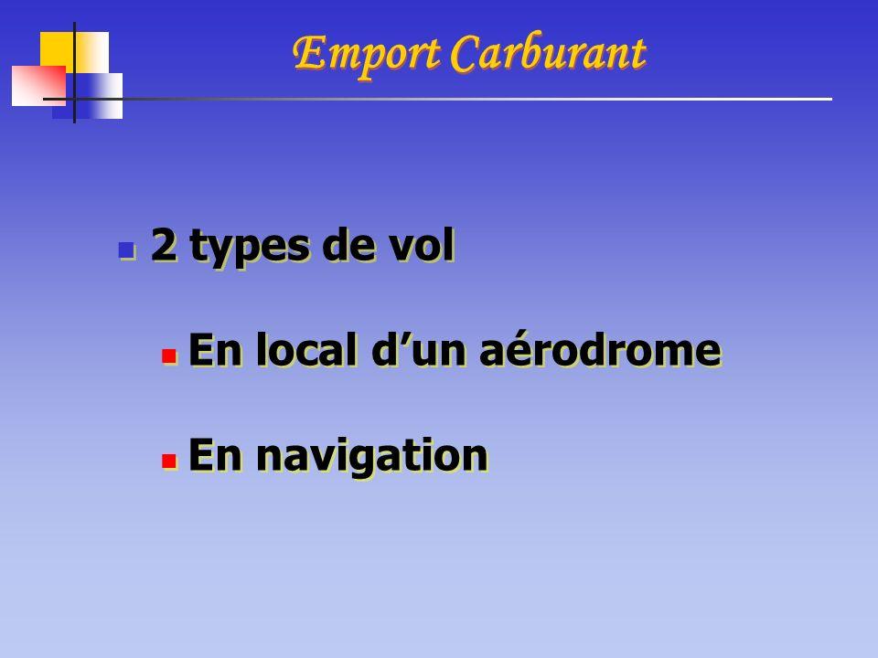 Emport Carburant 2 types de vol En local d'un aérodrome En navigation