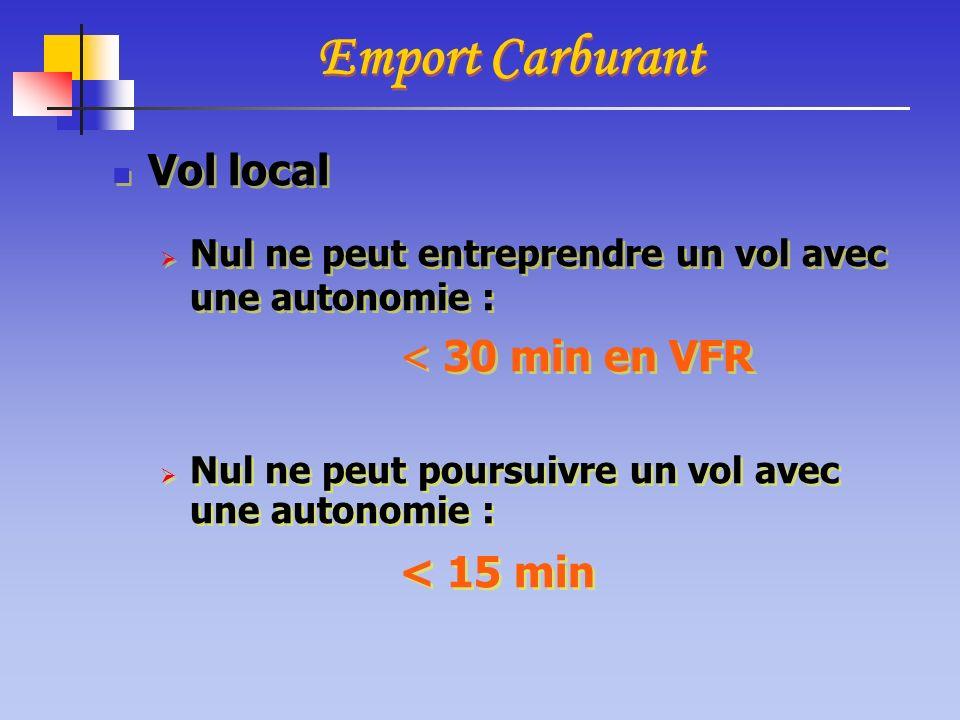 Emport Carburant Vol local < 30 min en VFR < 15 min