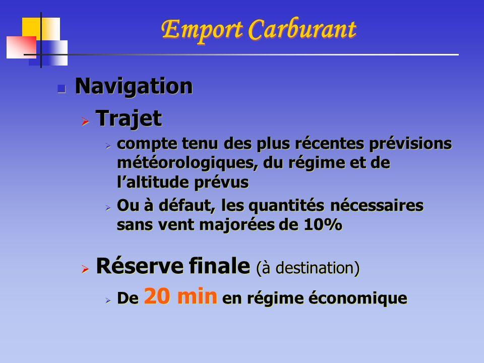 Emport Carburant Navigation Trajet Réserve finale (à destination)