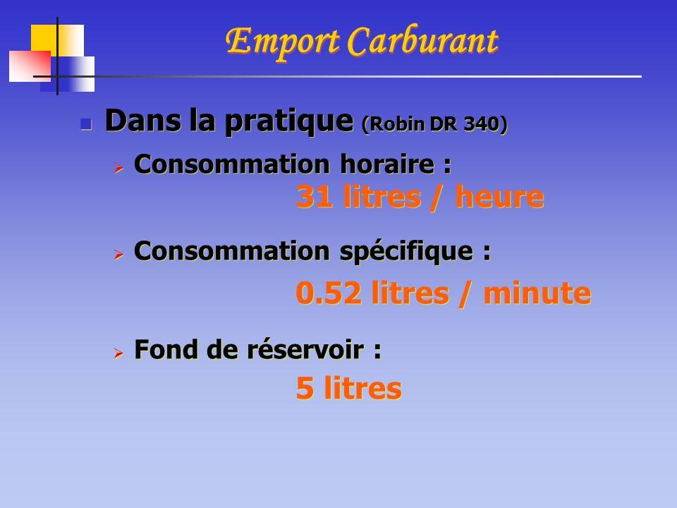 Emport Carburant Dans la pratique (Robin DR 340) 31 litres / heure