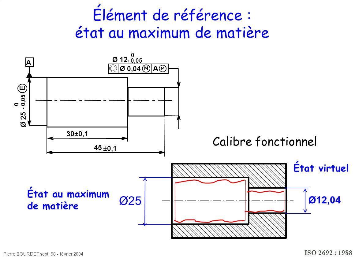Élément de référence : état au maximum de matière