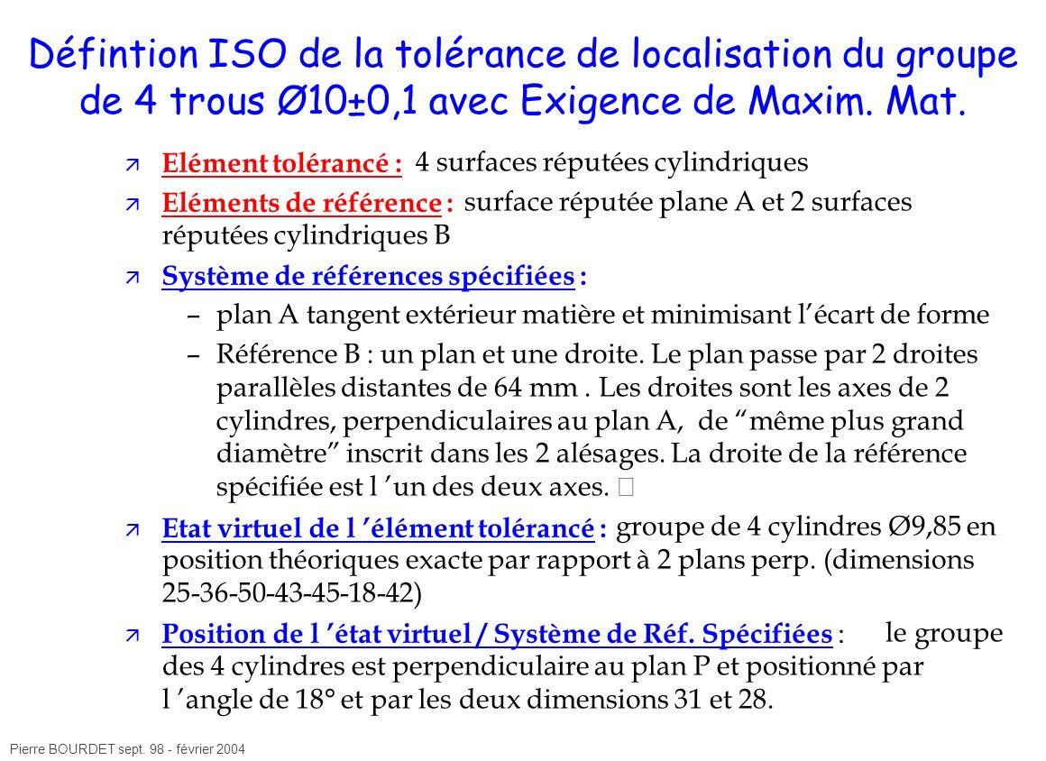 Défintion ISO de la tolérance de localisation du groupe de 4 trous Ø10±0,1 avec Exigence de Maxim. Mat.