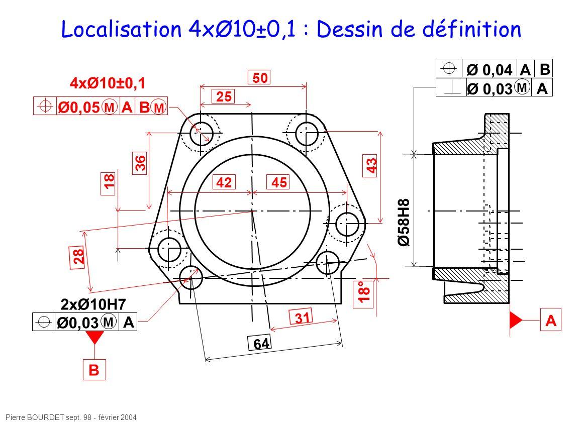 Localisation 4xØ10±0,1 : Dessin de définition