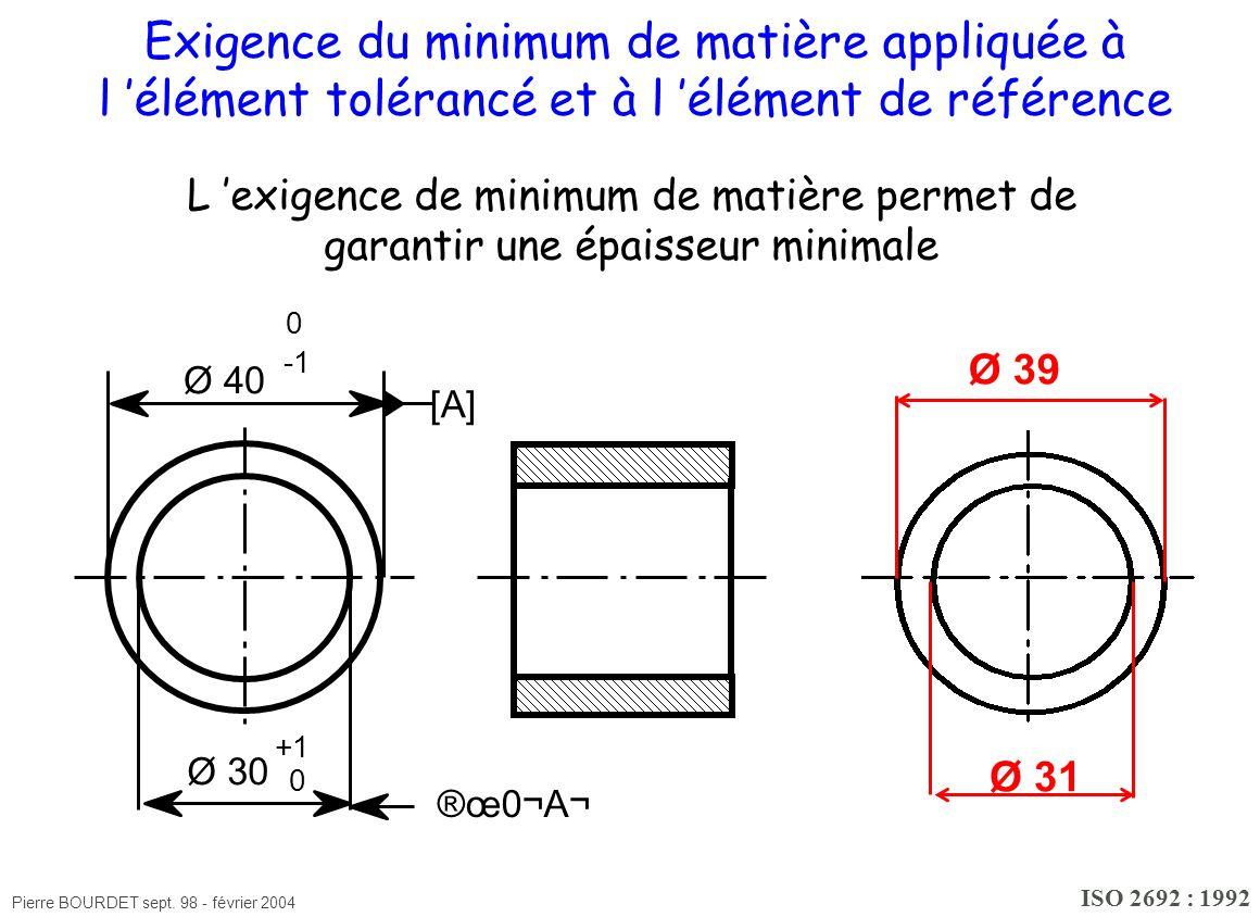 Exigence du minimum de matière appliquée à l 'élément tolérancé et à l 'élément de référence