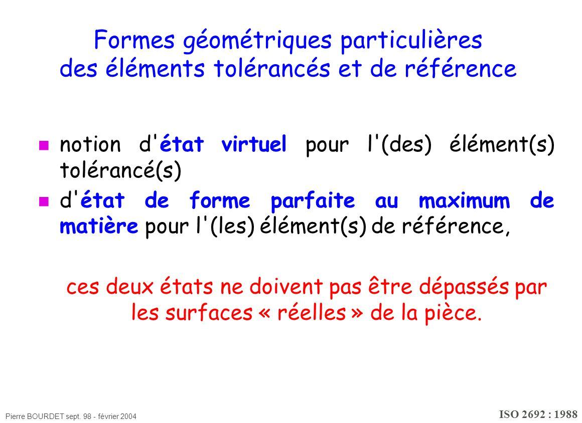 Formes géométriques particulières des éléments tolérancés et de référence