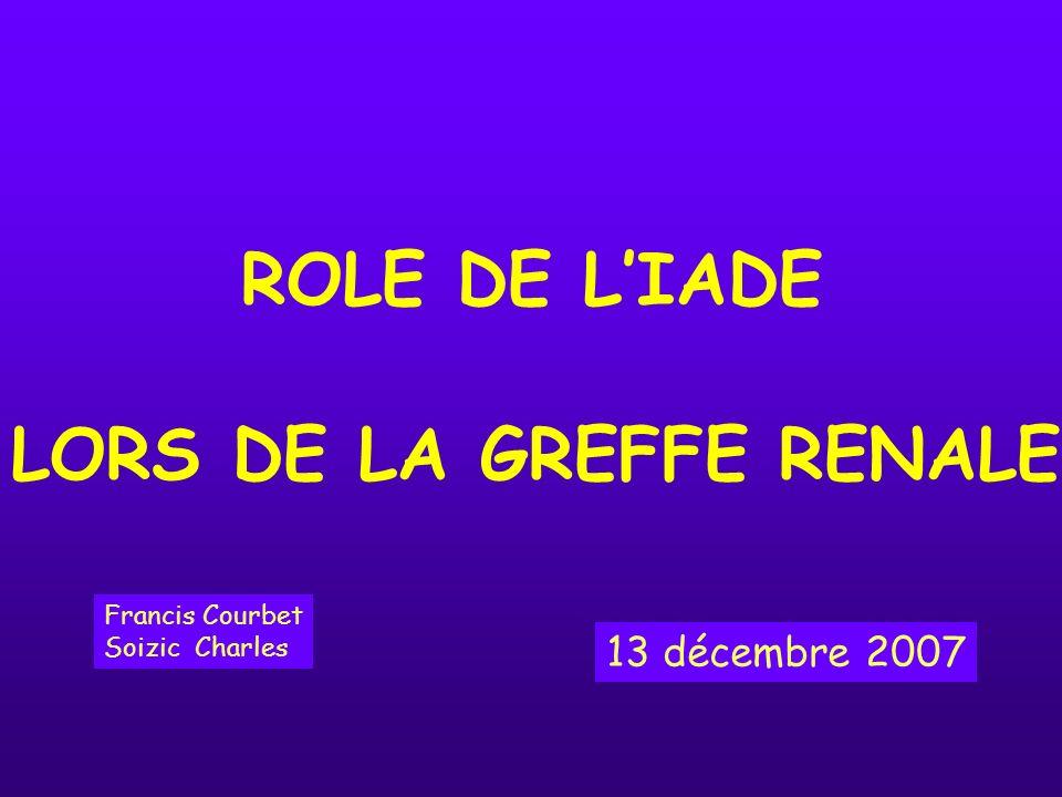 ROLE DE L'IADE LORS DE LA GREFFE RENALE 13 décembre 2007