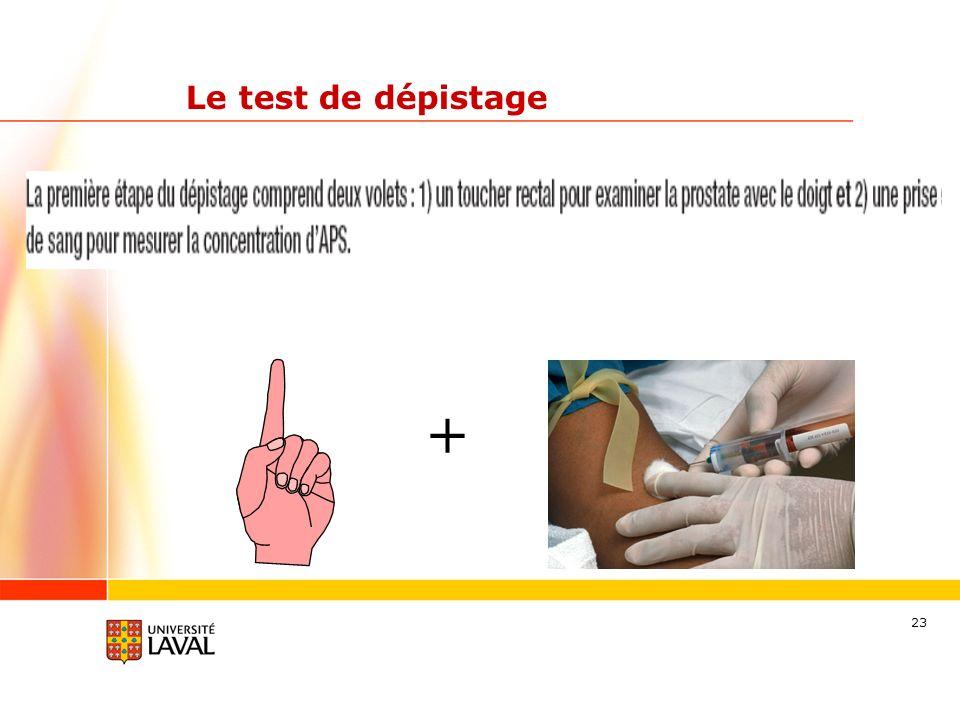 Le test de dépistage +
