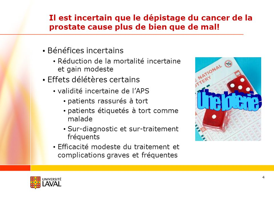 Il est incertain que le dépistage du cancer de la prostate cause plus de bien que de mal!